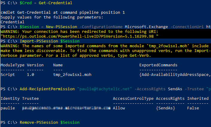 How to give send as permission in Office 365 Using Powershell