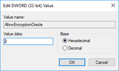 Image showing AllowEncryptionOracle registry entry being set to a value of 2