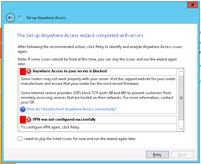 Windows Server Essentials Anywhere access - VPN was not configured successfully