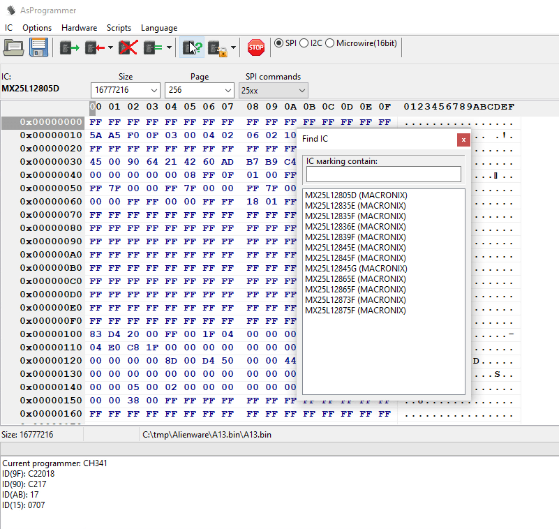 AsProgrammer tool successfully identifying the BIOS chip from a Dell Alienware Area 51 r2.