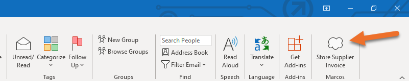 Image showing button on the Outlook Ribbon that will trigger a Power Automate Flow