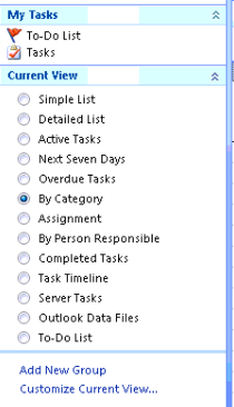 Listing tasks by Category in Outlook 2007 to stop the Calendar tab from not responding