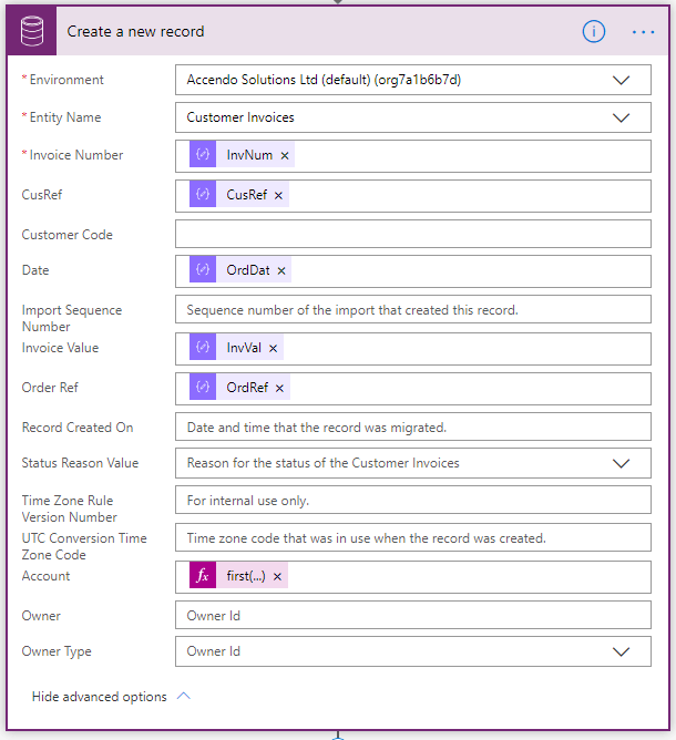 "Image showing how to create a new record in Common Data Service using only a single result from a ""List Records"" action in Microsoft Power Automate."