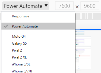 Image of Chrome Device Menu Showing Custom Power Automate Device