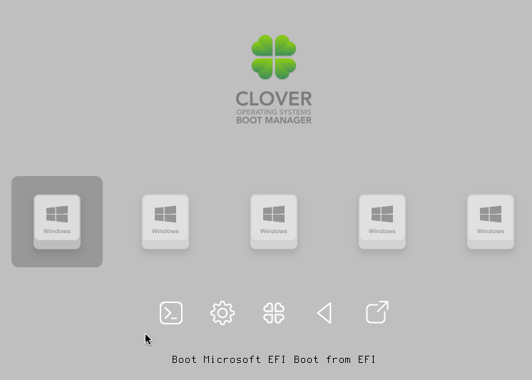 Screenshot of the Clover Boot Manager.