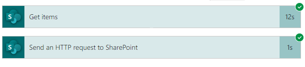 Image displaying the difference in execution time between Power Automate Get Items from SharePoint Action and the Same request to the SharePoint API.