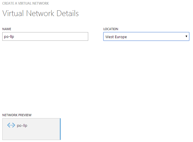 Creating an Azure virtual network in preparation for building a site-to-site link to a Draytek router