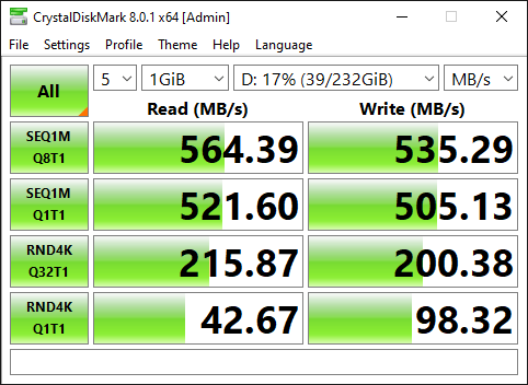 Performance Statistics of 500Gb Samsung EVO 860 SATA Solid State drive in Dell Optiplex 7010