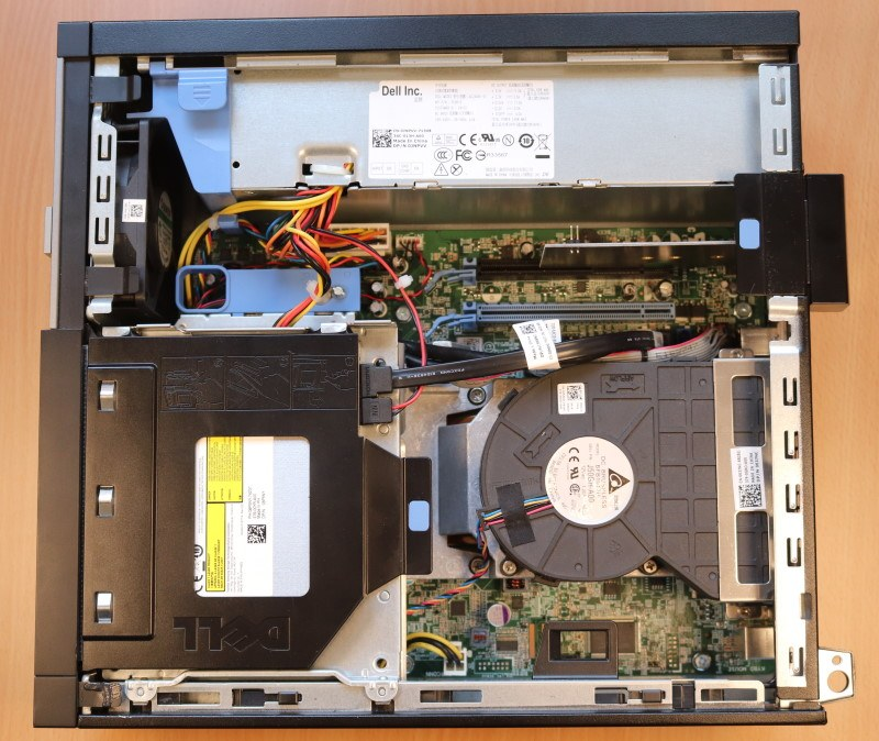 Image of Dell OptiPlex 7010 SFF with an NVME Drive installed into the PCIe slot.