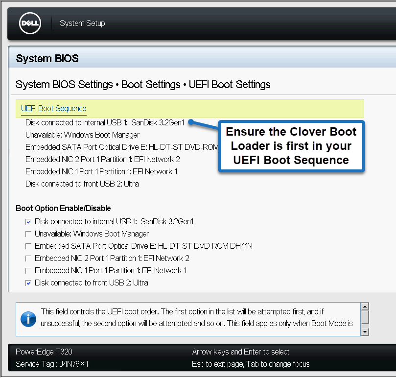 Image of Dell UEFI Boot Settings set to an Internal USB Device containing clover boot loader.