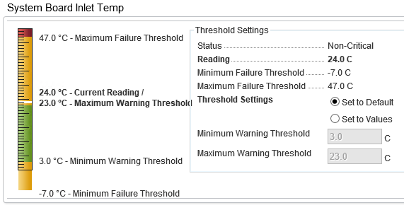 Image of Temperature Probe on a Dell Server within OpenManage 9.3