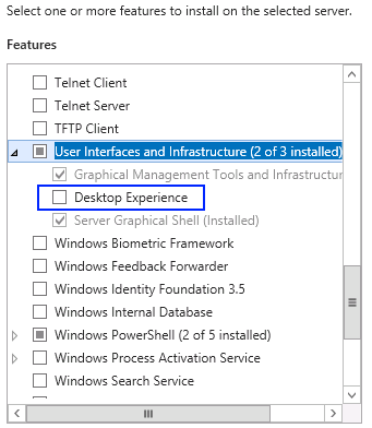 Installing the desktop experience to enable Flash player in Windows Server 2012