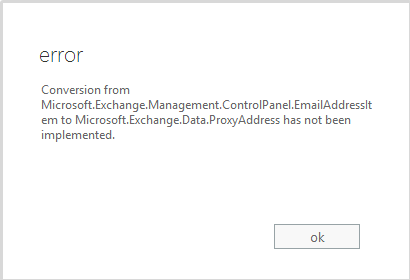 Error Message when adding email address to a distribution group in Office 365