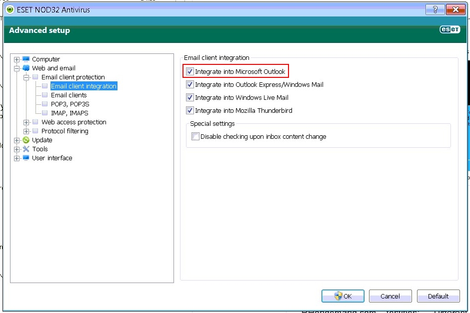 Eset NOD32 options to stop Outlook crashes when sending an email