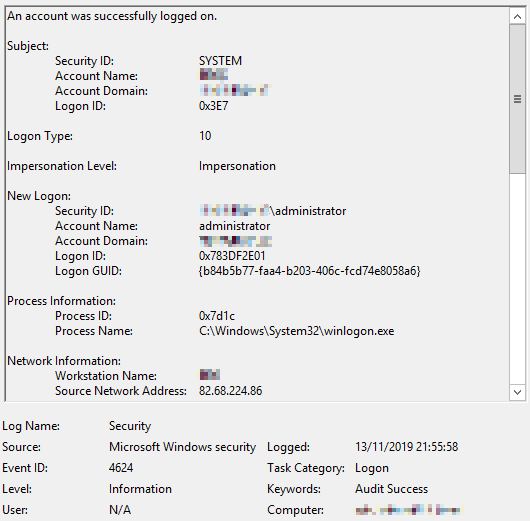 Image showing Event 4624, Logon Type 10 in the Windows Event Viewer, which indicates a successful user logon via terminal services.