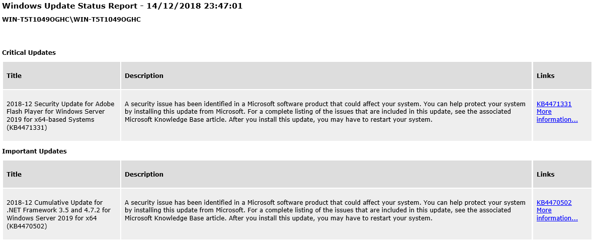 Receive email notification when Windows Updates are available