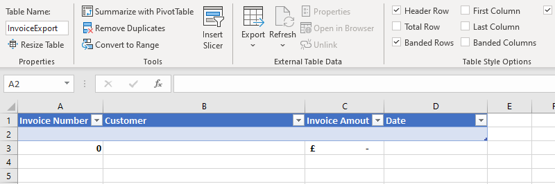 Image of an Excel table which is going to be populated with data exported from Power Automate
