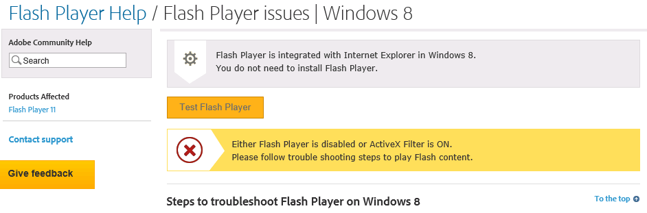 Message from Adobe Website informing you that Flash Player is already  installed on Windows Server 2012