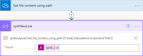 Image showing Power Automate actions retrieving a CSV file and splitting it into an array of lines.