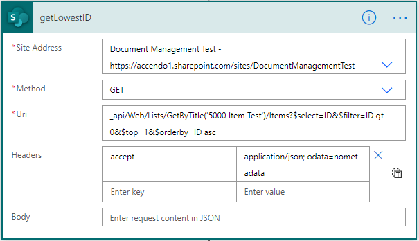 Image showing Sharepoint API being used to find the lowest ID of a row in a SharePoint list