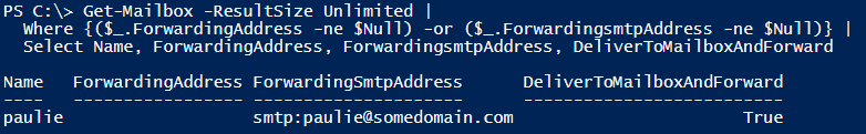 "Image showing the use of the ""Get-Mailbox"" cmdlet to list mailboxes which have forwarding enabled and will be set for removal."