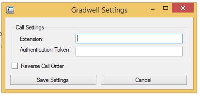 Dialog box prompting user to enter Gradwell Call API settings