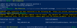 Image of Powershell session hiding an Office 365 Mail Contact