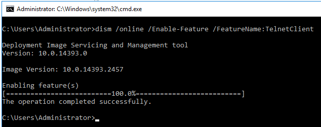 Image showing successful installation of telnet client on Windows Server 2016