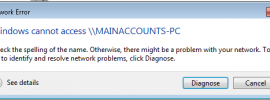 Image showing Windows 7 unable to access network share after installing Windows update KB4480970