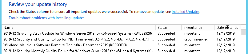 Image showing KB4532920 installed successfully. The update which caused a reboot loop.
