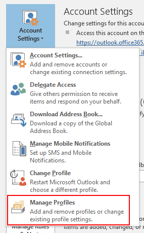 Manage mail profiles from within Outlook 2016
