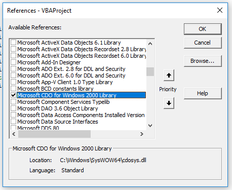 Image showing how to add the Microsoft CDO Library to the Office VBA Environment