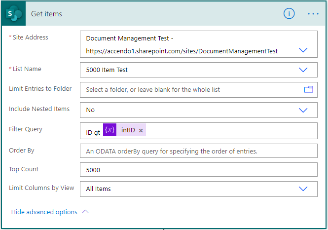 Image showing how to configure the get Items action to get 5000 rows from SharePoint Online