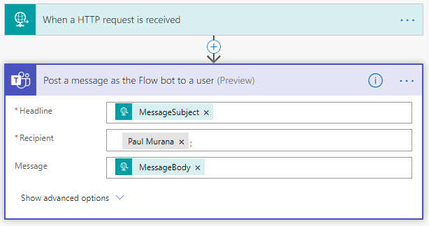 "Image of Flow in Microsoft Power Automate which will be triggered by the event ""When a HTTP request is received"""