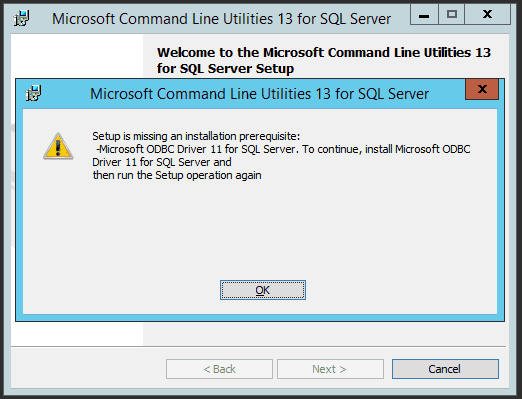 Image showing Microsoft Command Line Utilities for SQL Server failing to install due to an ODBC Driver Requirement