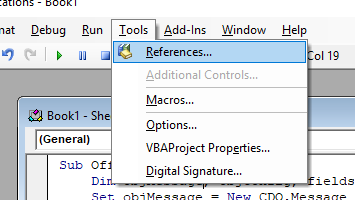 Image showing how to add references to an Office VBA Project