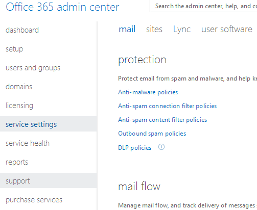 Office 365 Admin Center for downloading Office 2010 Professional Plus