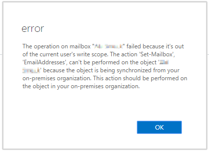 Image showing error from Office 365 when trying to change the primary SMTP address for an account that is synced to a local active directory.