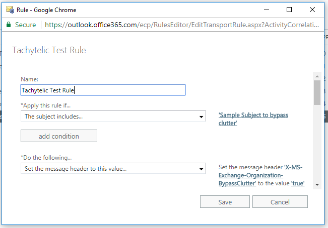 Screenshot showing Office 365 Transport Rule to exclude messages from clutter