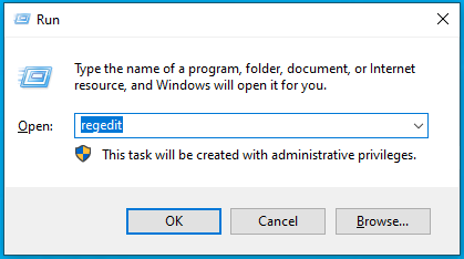 Image showing run dialog in Windows 10 to open the registry editor