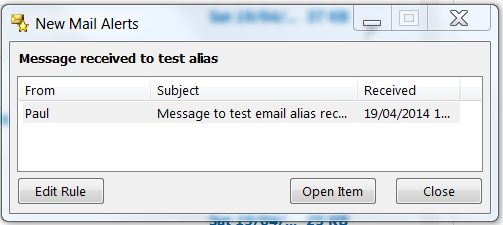 Outlook 2013 - New Mail Alert for message sent to a specific email address