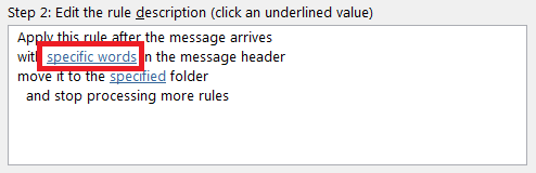 Specifying specific words to search for in the message header of an Outlook message