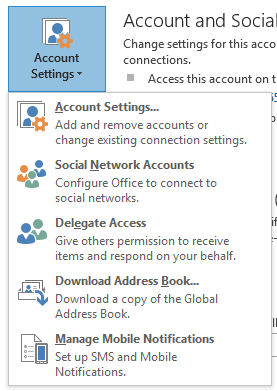 Wonderful Outlook 2013 Account Settings Button