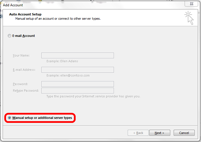 Outlook 2013 - Choosing manual account settings