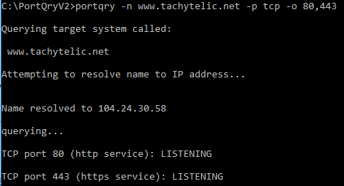 Image showing the usage of portqry.exe to test multiple ports on a web server