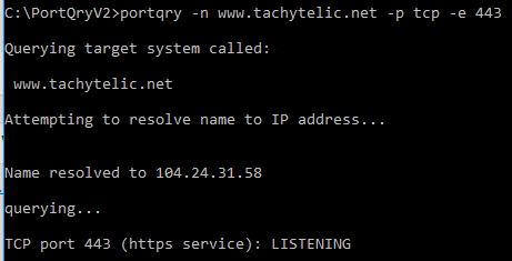 Image showing successful test of a web server on port 443