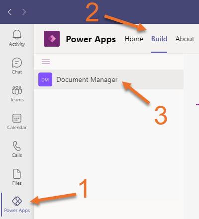 Image of Power Apps Build Tab in Microsoft Teams