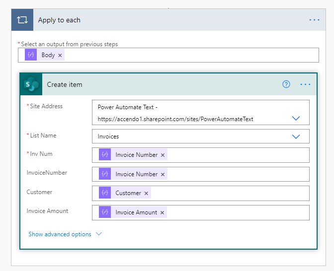 Image of a Power Automate Flow which uses an apply to each loop to generate items in a SharePoint list.
