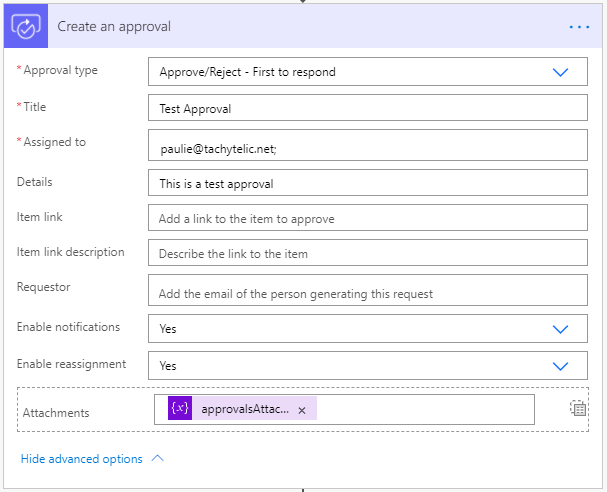 Image of an approval flow having multiple attachments added