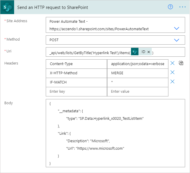 Image showing the use of the HTTP Request to SharePoint action in Power Automate being used to populate a Hyperlink column.